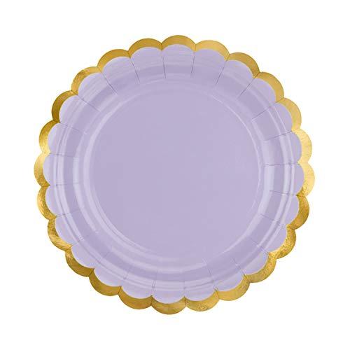 PartyDeco- Paquete de 6 platos grandes de cartón lila con bordes dorados, color TPP16-004J