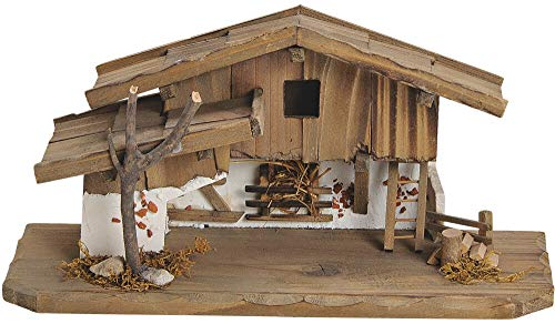 matches21 Krippe Weihnachtskrippe Stall Holz/Echtholz alpenländisch braun/weiß liebevolle Details 31x11x4 cm