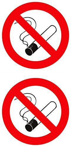 Autocollant interdiction de fumer, dimension, set de 2, Ø chaque 25 mm