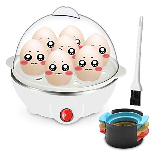 Schneller Elektronischer Eierkocher, elektrischer 6-Loch-Eierkessel für hartgekochte Eier, pochierte Eier, Rührei, Eier-Teekocher mit automatischer Schließfunktion (Weiß)