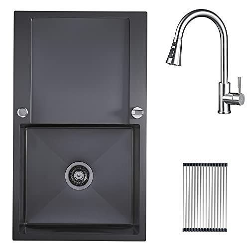 CECIPA Fregadero de cocina con escurridor 78*50 acero inoxidable escurridor fregadero egadero de cocina negro (Con el grifo, Negro)
