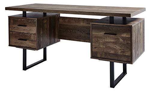 Amazon Marke -Movian Vättern - Schreibtisch mit 3 Schubladen, 152,4x60x76cm, Dunkle Eiche Vintage Look-Effekt