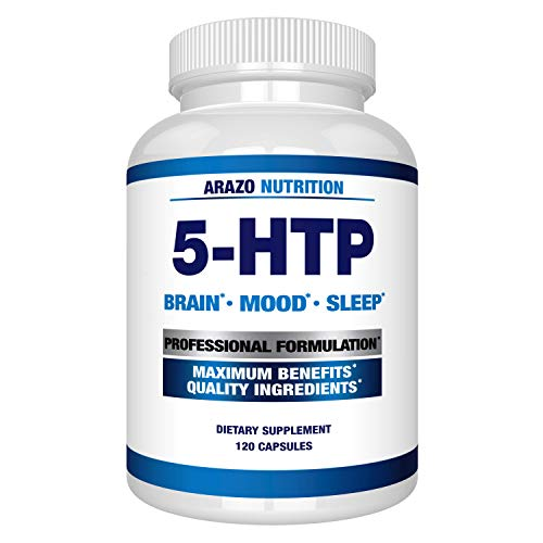 5-HTP 200mg Plus Calcium for Mood, Sleep, Anxiety - Boosts Serotonin Production - 99% High Purity – 120 Capsules – Arazo Nutrition