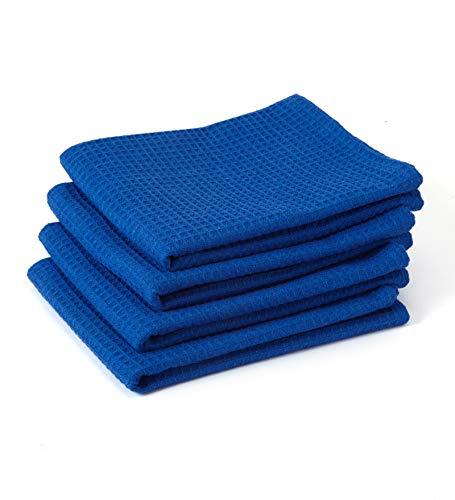Encasa Homes Geschirrtücher X-Large 70 x 45 cm (4er-Set) Hochsaugfähiges Waffeltuch-Teathandtuch für die professionelle Reinigung und schnelle Trocknung von Tellern und Gläsern, Baumwolle - Blau