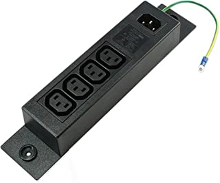 Conntek Server 10A 250V IEC Power Strip C14 Inlet to IEC 320 Sheet F Outlets 4 with Grounding Wire Out