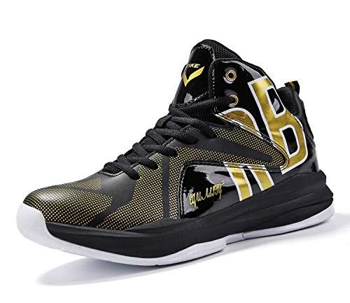 Basketballschuhe Jungen Sneakers Kinder Sportschuhe Turnschuhe Mädchen Hallenschuhe Outdoor Laufschuhe für Unisex Herren Damen Gold Schwarz EU 33-Etikett 34