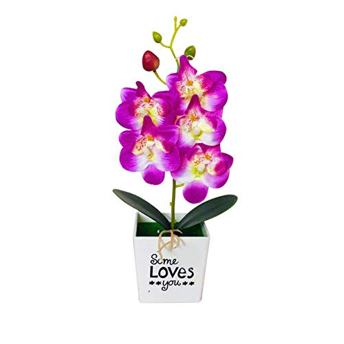 Shanji Orquídea artificial de polilla de seda con orquídea mariposa con maceta para el hogar, la oficina, fiestas y decoración de bodas