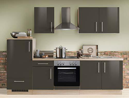 expendio Küchenzeile Unico 270 cm Lava Hochglanz mit E-Geräten Küchenblock Einbauküche Komplett-Küche Dekor Sonoma Eiche