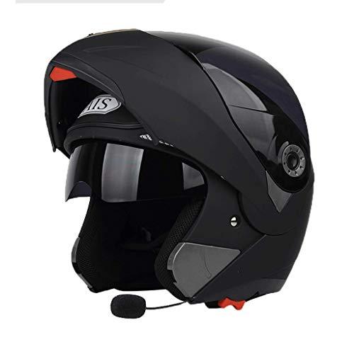 OUTO Casco Staccabile Quattro Stagioni Bluetooth Funzione Anti-Nebbia Doppia Lente Casco Moto Mezza Copertura Completa (Colore : Sub Black Tea Mirror, Dimensioni : L.)