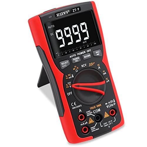 Yixikejiyouxian-A ZT-Y 9999 Word Multímetro Digital multifunción de Rango Manual automático de Alta precisión de Alta definición y Tres Pantallas - Negro Rojo