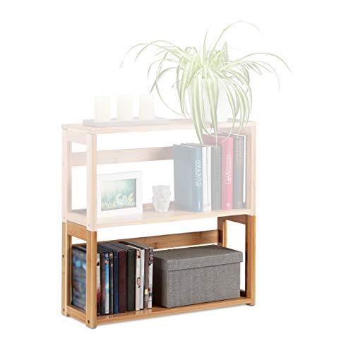 Relaxdays Etagère empilable, Bambou Naturel, prolongeable, Salon & Chambre, Pieds, Design A: Regalmodul, 30 x 60 x 20 cm