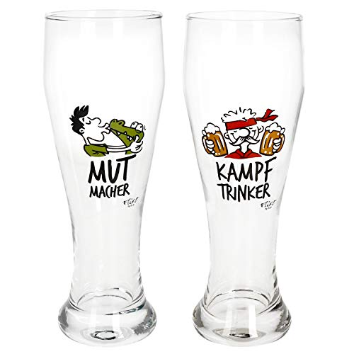 MamboCat 2er Set Weizenbiergläser Mutmacher & Kampftrinker I 500 ml I Weißbierglas mit Motiv 0,5L I Bierglas klar