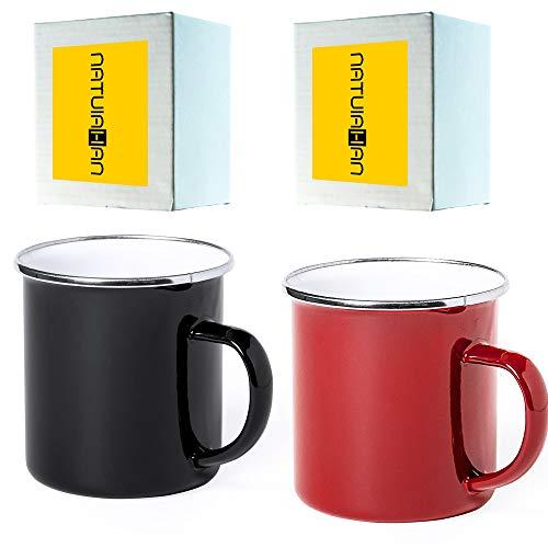 Natuiahan 2 Tazas de Acero Inoxidable Estilo Vintage Tazas para Beber de Metal Esmaltado sin BPA de 380 ml. Incluye Caja de Regalo. Colores Rojo y Negro