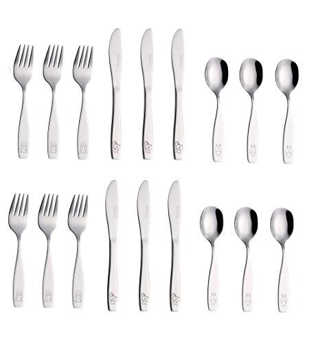 Exzact Couverts enfant en inox 18 Pièces: 6 x Fourchettes, 6 x Couteaux, 6 x Cuillères (Chien-Chat-Lapin)