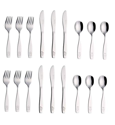 Exzact Stainless Steel 18 Pieces Childrens Flatware/Kids Silverware/Cutlery Set - 6 x Safe Forks, 6 x Safe Table Knives, 6 x Tablespoons - Safe Toddler Utensils (Engraved Dog Cat Bunny)
