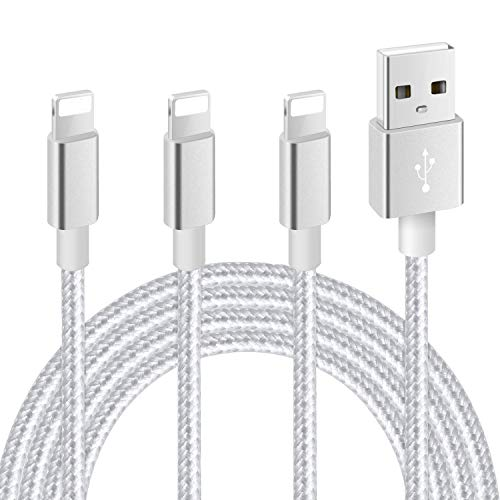 iPhone Charger, MFi Certified Lightning Cable 3Pack 10FT Nylon Braided USB Charging Cord Compatible with iPhone 11/XS/XR/X/8/7/6/5/iPad(Silver Gray)