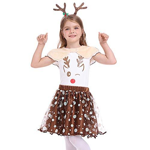 Disfraz de Pap Noel para nias, disfraz de elfo de Pap Noel, disfraz para nios, Navidad, vacaciones, cosplay, fiesta, ciervo, alce, diadema, sombrero, juego de 2 piezas/3 piezas