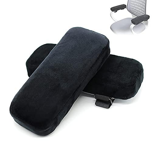 Silla de Oficina Cojín de reposabrazos, Espuma de Memoria Cubierta de Codo Suave-Cubierta de Brazo Universal para el Codo y antebrazo descompresión-Negro (Paquete de 2)