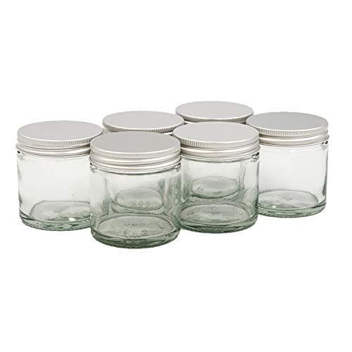 Avalon 60ml CLEAR Glass Jar with Airtight Lids ~ Pack of 6 ~ Refillable, Reusable ~ Perfect for Moisturisers, Grooming Products, Face and Body Balms, Candles and More (Aluminium)