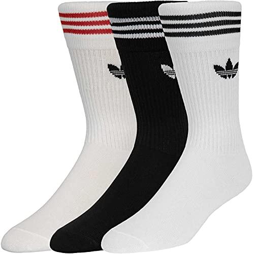 adidas Solid Crew Socks - Calzini da donna, confezione da 3, Bianco / Rosso, XS