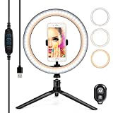 """10"""" Ring Light LED Desktop Selfie Ring Light USB LED Desk Camera Ringlight 3 Colors Light with Tripod Stand iPhone Cell Phone Holder and Remote Control for Photography Makeup Live Streaming"""