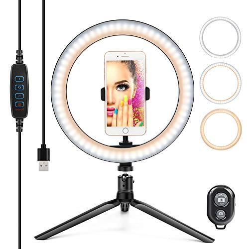 "10"" Ring Light LED Desktop Selfie Ring Light USB LED Desk Camera Ringlight 3 Colors Light with Tripod Stand iPhone Cell Phone Holder and Remote Control for Photography Makeup Live Streaming (Natural)"
