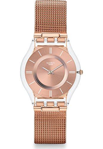 Swatch Reloj de pulsera analógico de cuarzo para mujer con correa de metal SFP115M