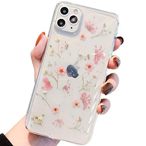 iPhone SE 2020 Hülle iPhone 8 HandyHülle Blume iPhone 7 Handyhüllen Kristall Echt Getrocknete Blumen Schutzhülle Silikon Rückschale Handgefertigten Bumper Case Cover für iPhone 7/8/SE 2020 4,7, D1
