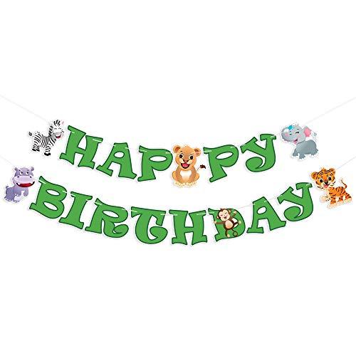 WERNNSAI Giungla Safari Contento Compleanno Bandiera - Zoo Animali Tema Festa Decorazioni per Bambini Compleanno Articoli per Feste