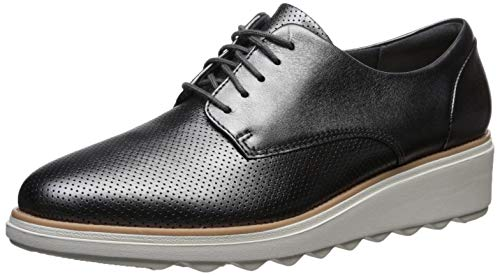 CLARKS Women's Sharon Crystal Oxford, Dark Pewter Leather, 6.5 M US