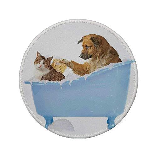 Rutschfeste Gummi-Runde Mauspad Katzenliebhaber-Dekor Hund und Kätzchen in der Badewanne zusammen mit Blasen Shampoonieren mit Dusche Spaß Artsy Print Multi 7,87 'x 7,87' x3MM