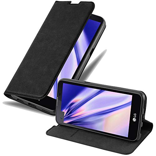 Cadorabo Hülle für LG X Screen - Hülle in Nacht SCHWARZ – Handyhülle mit Magnetverschluss, Standfunktion & Kartenfach - Hülle Cover Schutzhülle Etui Tasche Book Klapp Style