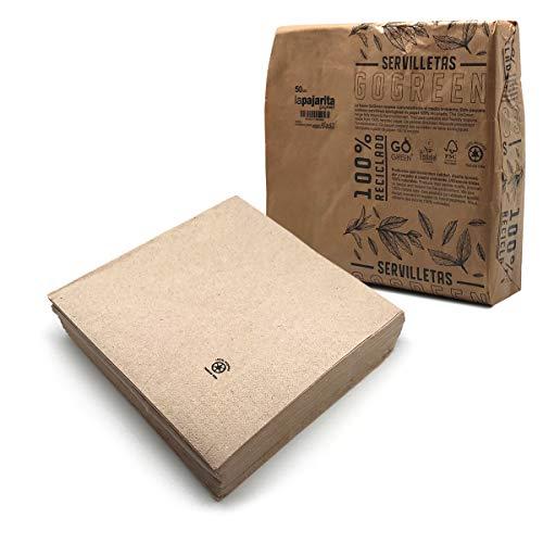 LA PAJARITA   Servilletas de papel recicladas ecológicas 2 capas   Tamaño 40x40 cm   50 servilletas   Envueltas en paquete de papel ecológico   GOGREEN ZERO WASTE
