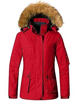 Wantdo Women s Mountain Waterproof Ski Jacket Winter Snow Coat Windproof Rain Jacket Red L