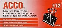 """Acco Mediumサイズバインダークリップ–1p1/ 4""""幅。5/ 8""""容量–12perボックス–8ボックス(合計96)"""