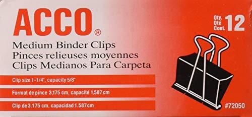 ACCO Medium Size Binder Clips - 1 p1/4'' Width. 5/8'' Capacity - 12 per Box - 8 Boxes (96 Total)