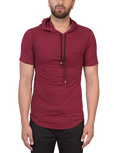 PAUSE Men's Solid Cotton Short Sleeve Round Neck Slim-Fit T-Shirt (Large,Maroon,PACT03181242-MRN-L)
