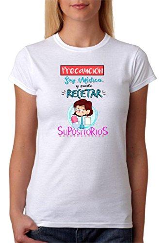 Camiseta Médica. Precaución Soy médica y Puedo recetar supositorios. Camiseta algodón para Regalo. (M)