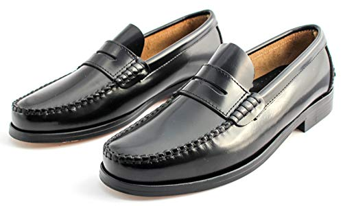 Marttely Herren Leder Anzugschuhe Loafer mit Ledersohlen Handmade Mokassins, Schwarz, 41 EU