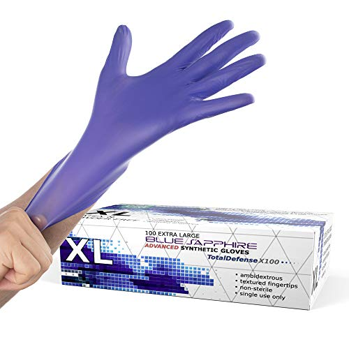 Powder Free Disposable Gloves X Large -100 Pack -Synthetic Nitrile Medical Glove