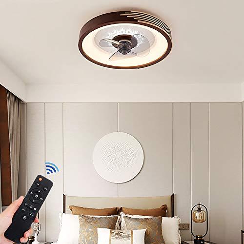 Ventilador De Techo LED Con Iluminación Ventilador De Madera De 48W Lámpara De Techo Con Control Remoto Ventilador Silencioso Luz De Techo Creativa Ventilador Silencioso Moderno Regulable