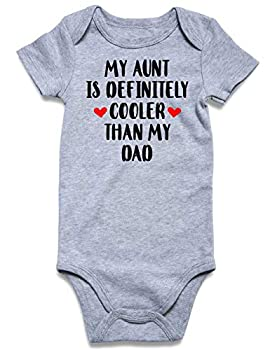Lovefairy MY AUNT IS DIFFERENT COOLER THAN MY DAD for Infant Toddler Baby Short Sleeve Bodysuit Summer Funny Onesie 0-3 Month