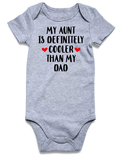 uideazone Baby Aunt Onesie, Baby Funny Outfit My Aunt is Definitely Cooler Than My Dad Bodysuit Baby Boys 0-3 Months Clothes
