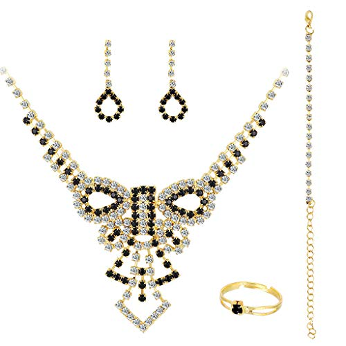 Fineday Atmosphere Diamond Bridal Set Necklace and Earrings 4 Piece Set, Necklaces & Pendants, Jewelry & Watches for Christmas Day (Gold)