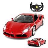 Ferrari 488 GTB Model, Rastar 1/14 Scale Ferrari Remote Control Car for Boys 8-12 - RED