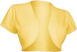 Womens Retro Bolero Short Sleeve Lace Crop Top Open Front Blero Cardigan