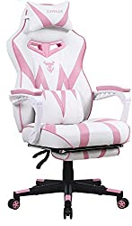 Pink Gaming Chair with Footrest