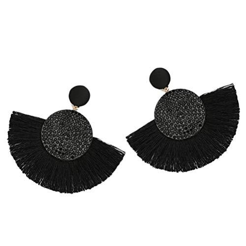 Neborn Pendientes de borla bohemio declaración de lujo pendiente largo día de san valentín hecho a mano mujeres geométricas flecos moda rhinestone grande (Negro)