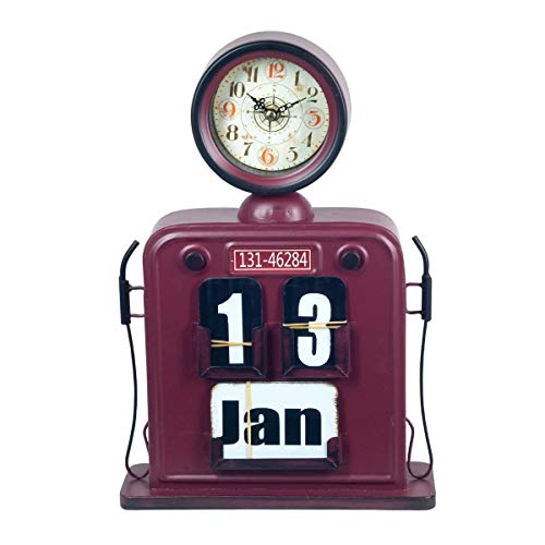 CAPRILO. Reloj de Mesa Decorativo Retro de Metal Calendario