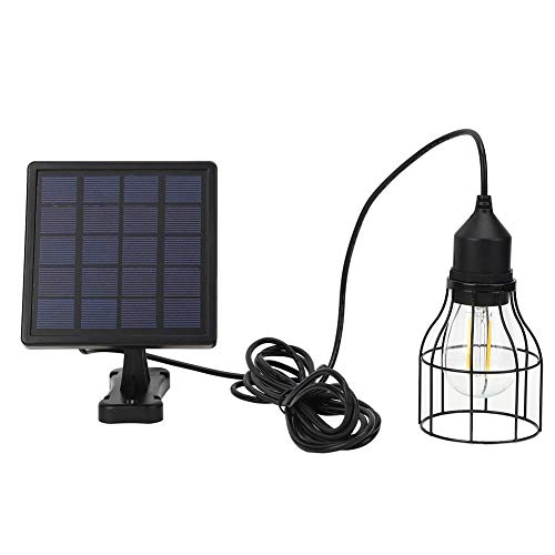 Solar Powered Pendant Light,LED Chandelier E27 Waterproof Outdoor Hanging Shed Light Black Mini Pendant Lamp with Changeable Solar Panel for Garden,Garage,Pathway,Yard,Patio,Lawn,Balcony
